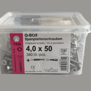 Spanplattenschrauben 4,0x40 Q-Box Edelstahl A2 Inhalt 400 Stk